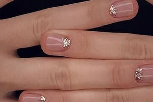 Gel Manicure With Glitter at The Nail Bed