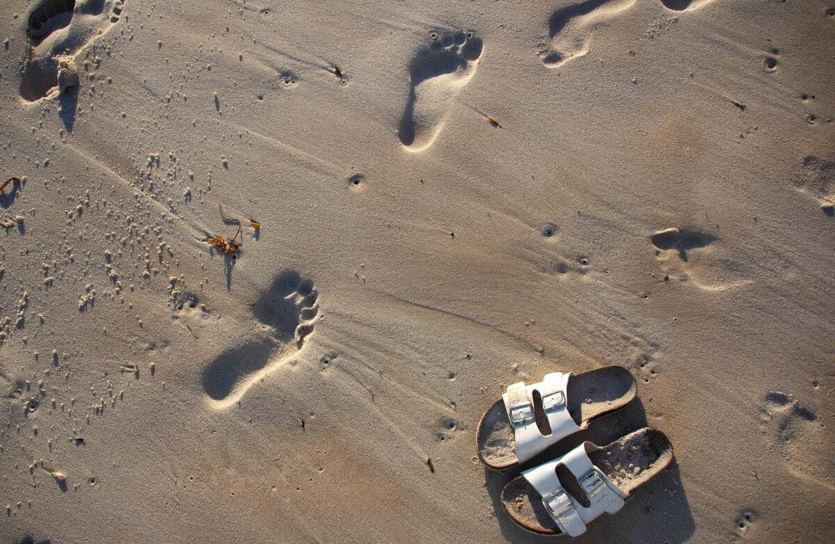 beach sandals sand