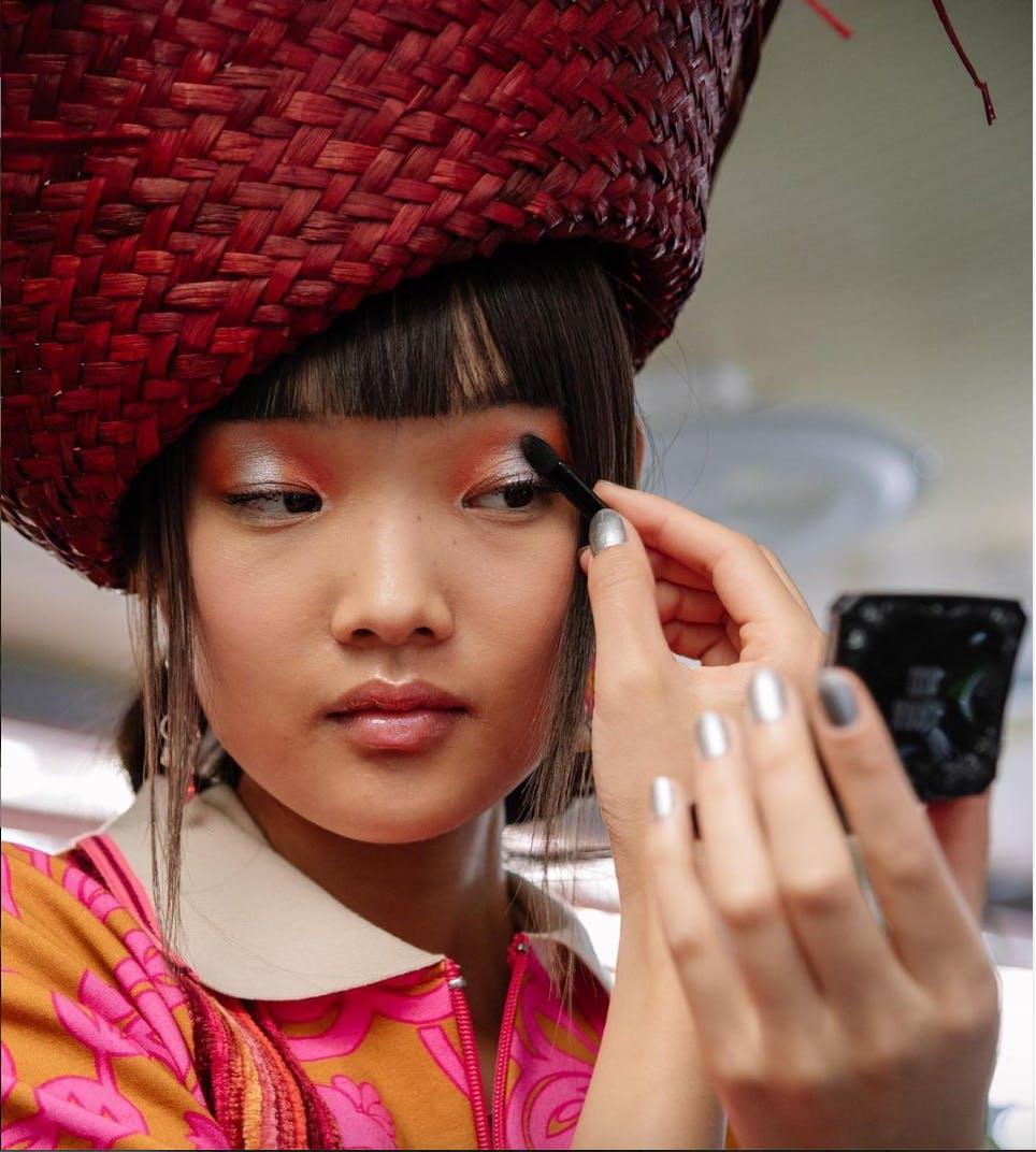 Bold pink eyeshadow at London Fashion Week