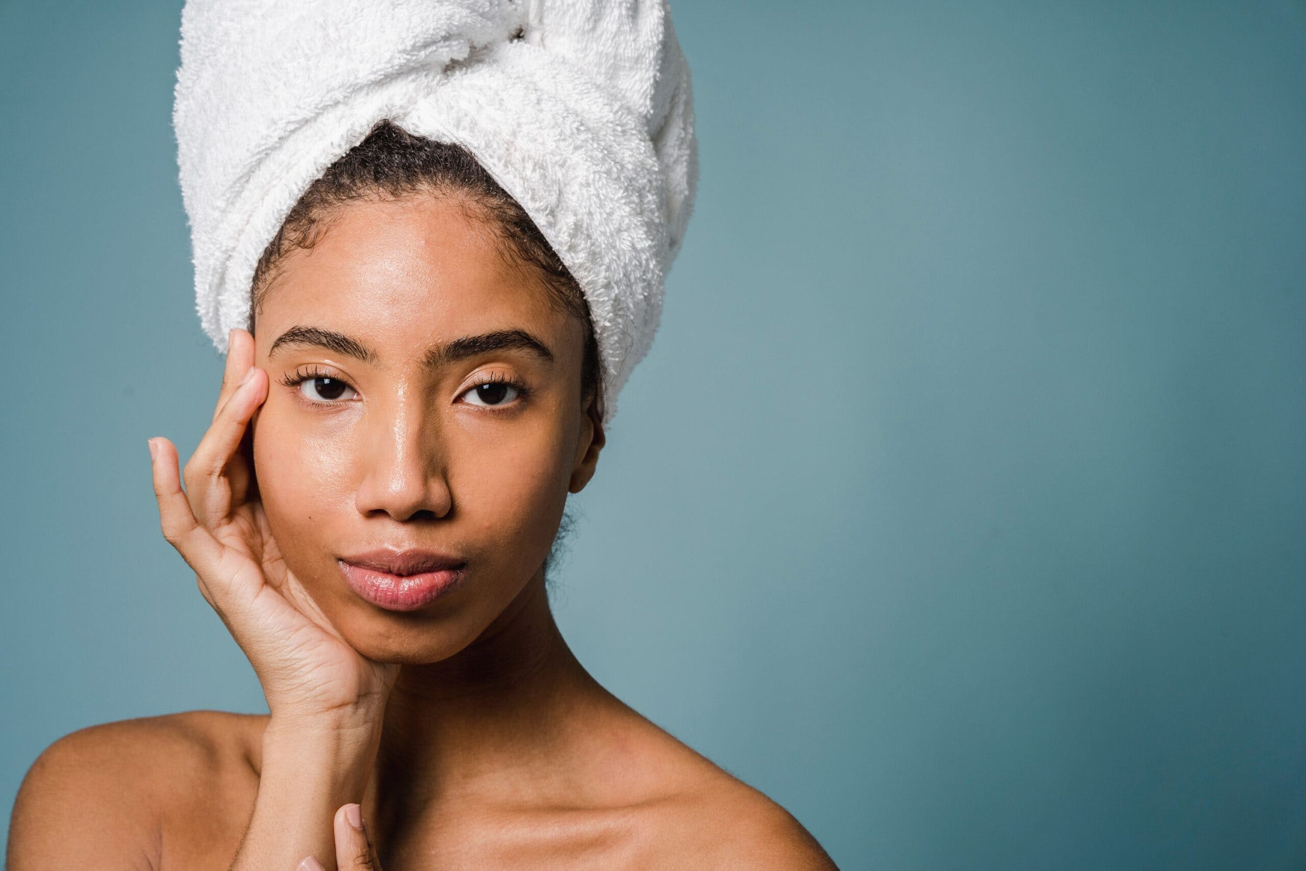 Woman with hydrated skin